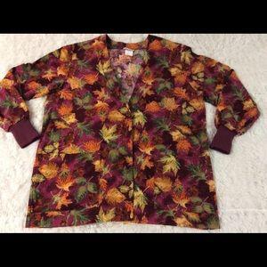 Peaches Autumn Leaf Scrub Jacket MISSING BUTTON